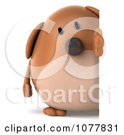 Clipart 3d Chubby Brown Dog Looking Around A Sign Royalty Free CGI Illustration