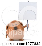 Clipart 3d Chubby Brown Dog Holding A Sign 1 Royalty Free CGI Illustration