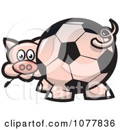 Clipart Soccer Ball Butt Pig Royalty Free Vector Illustration