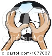 Clipart Hands Holding A Soccer Ball Royalty Free Vector Illustration by jtoons
