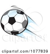 Clipart Flying Soccer Ball Royalty Free Vector Illustration