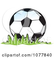 Clipart Soccer Ball On Grass Royalty Free Vector Illustration by jtoons