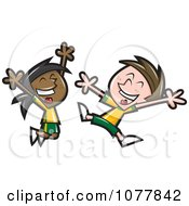 Clipart Happy Soccer Kids Jumping Royalty Free Vector Illustration