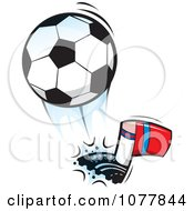 Clipart Player Kicking A Soccer Ball 1 Royalty Free Vector Illustration