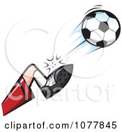 Clipart Player Kicking A Soccer Ball 2 Royalty Free Vector Illustration