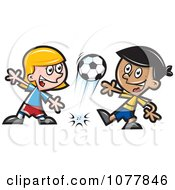 Clipart Kids Playing Soccer 1 Royalty Free Vector Illustration