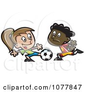 Clipart Kids Playing Soccer 2 Royalty Free Vector Illustration by jtoons