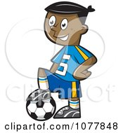 Clipart Black Boy Resting His Foot On A Soccer Ball Royalty Free Vector Illustration