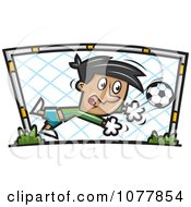 Clipart Boy Soccer Goalie Royalty Free Vector Illustration by jtoons