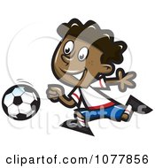 Clipart Black Boy Playing Soccer Royalty Free Vector Illustration by jtoons