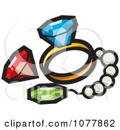 Clipart Treasure Gems And Jewelery Royalty Free Vector Illustration by jtoons