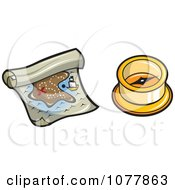 Clipart Pirate Treasure Map And Compass Royalty Free Vector Illustration by jtoons