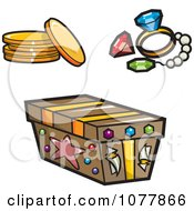 Clipart Pirate Booty And A Treasure Chest Royalty Free Vector Illustration by jtoons