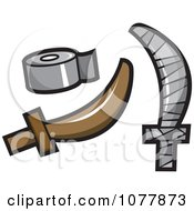 Clipart Cardboard Pirate Sword Covered In Duct Tape Royalty Free Vector Illustration by jtoons