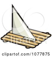 Clipart Log Pirate Boat With A Sail Royalty Free Vector Illustration by jtoons