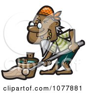 Clipart Pirate Mopping Royalty Free Vector Illustration by jtoons