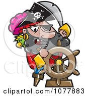 Clipart Pirate Captian Steering Royalty Free Vector Illustration