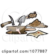 Clipart Pirate Digging For Treasure Royalty Free Vector Illustration by jtoons