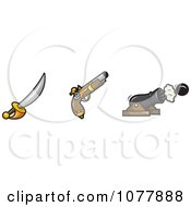 Clipart Pirate Sword Gun And Cannon Royalty Free Vector Illustration by jtoons