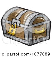 Clipart Locked Wooden Treasure Chest Royalty Free Vector Illustration by jtoons
