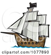 Clipart Pirate Sailing Ship Royalty Free Vector Illustration by jtoons