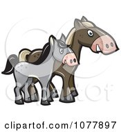 Clipart Horse And Pony Side By Side Royalty Free Vector Illustration by jtoons