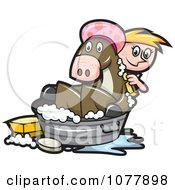 Girl Bathing Her Horse In A Tub