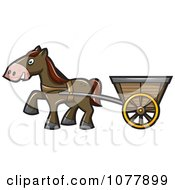 Clipart Horse Pulling A Cart Royalty Free Vector Illustration