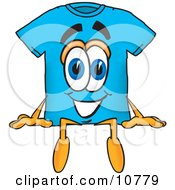 Clipart Picture Of A Blue Short Sleeved T Shirt Mascot Cartoon Character Sitting