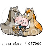 Clipart Horse Parents And Baby Foal Royalty Free Vector Illustration by jtoons
