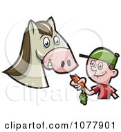 Clipart Boy Feeding A Horse A Carrot Royalty Free Vector Illustration by jtoons
