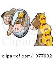 Clipart Horse Groomer Holding Up A Mirror For Her Pony Royalty Free Vector Illustration by jtoons