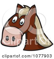 Clipart Brown Horse Face Royalty Free Vector Illustration by jtoons