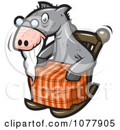 Clipart Old Horse In A Rocking Chair Royalty Free Vector Illustration