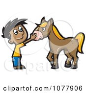 Clipart Boy Petting A Horse Royalty Free Vector Illustration by jtoons