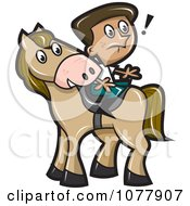 Clipart Boy Sitting Backwards On A Horse Royalty Free Vector Illustration by jtoons