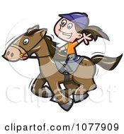 Clipart Girl Riding A Horse Royalty Free Vector Illustration by jtoons