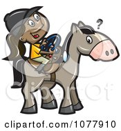 Clipart Girl Trying To Steer A Horse With A Wheel Royalty Free Vector Illustration by jtoons