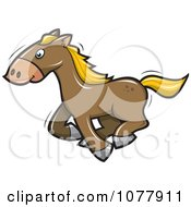 Clipart Brown Horse Running Royalty Free Vector Illustration by jtoons