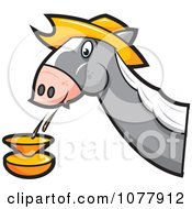 Clipart Horse Spitting Royalty Free Vector Illustration by jtoons
