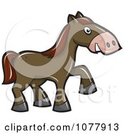 Clipart Horse Walking Royalty Free Vector Illustration by jtoons