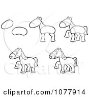Clipart How To Draw A Horse Sketches Royalty Free Vector Illustration