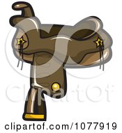 Clipart Brown Leather Horse Saddle Royalty Free Vector Illustration by jtoons