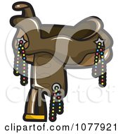 Clipart Brown Leather Horse Saddle With Beads Royalty Free Vector Illustration by jtoons