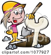 Clipart Female Archaeologist Resting Her Hand On An Excavated Bone Royalty Free Vector Illustration by jtoons