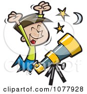 Happy Boy Jumping By A Telescope