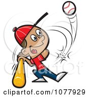 Clipart Baseball Player Swinging His Bat Royalty Free Vector Illustration