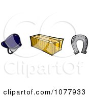 Clipart Helmet Hay Bale And Horse Shoe Royalty Free Vector Illustration by jtoons