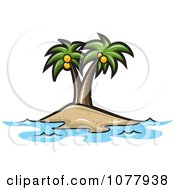 Clipart Coconut Palm Trees On An Island Royalty Free Vector Illustration