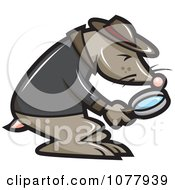 Clipart Mole Investigator Using A Magnifying Glass Royalty Free Vector Illustration